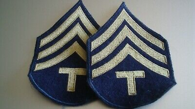 £5.50 • Buy Original US ARMY - 'WW2 Pair TECH SGT' RANK INSIGNIA PATCHES