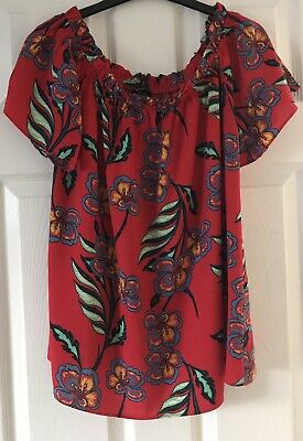 £0.99 • Buy Ladies  Gorgeous Red  On/Off The Shoulder Summer Blouse/Top. Size 14 By Papaya