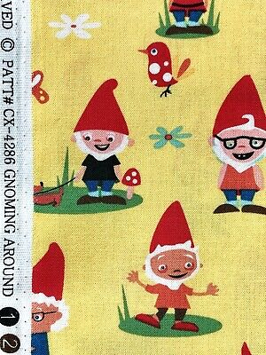 $6 • Buy Gnoming Around MICHEAL MILLER Gnomes Mushrooms Woven Cotton Fabric HTF Retired
