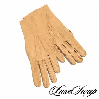 £7.19 • Buy Vintage Anonymous Camel Tan Peccary Pigskin Leather Unlined Long Gloves 7 NR