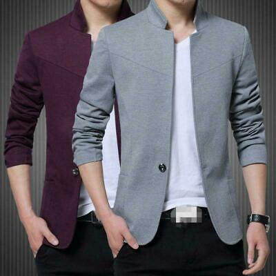 $29.75 • Buy Mens Slim Chinese Tunic Blazer Suits Buttons Jackets Stand Collar Business Coats