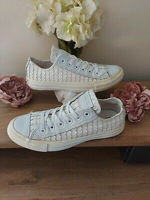£12.99 • Buy Ladies Size (5) (White)  Converse Leather Sequin Spots  -Good Condition-