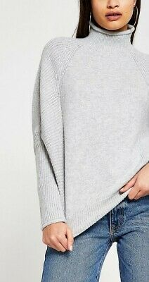 £12.99 • Buy New Tagged River Island Funnel Neck Knitted Jumper Grey Size X-small Slouchy