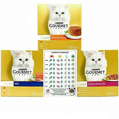 £22.27 • Buy Purina Gourmet Gold Canned Wet Cat Food 3 Flavour Variety Pack (24 X 85g Tins)
