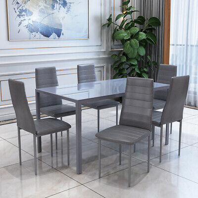 £215 • Buy Rectangle Dining Glass Table And 6 PU Chairs Set Kitchen Dinning Room Grey NEW