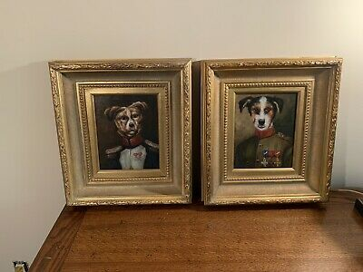 $475 • Buy  Pair Dogs In Military Outfits Oil Paintings On Canvas In Ornate Gold Frames
