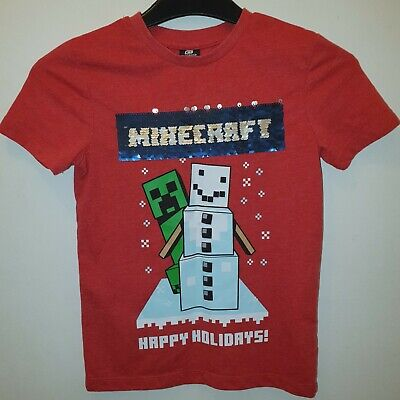 £0.99 • Buy ⛄ MINECRAFT Boys 2 Way Sequin Creeper Snowman⛄ T-Shirt Top Age 6-7 Years 6 - 7