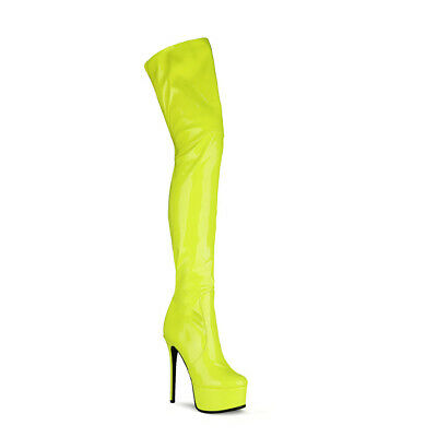 £64.05 • Buy Womens 15cm High Heel Platform Shoes Zip Patent Leather Thigh Boots US Size 5~12