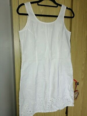 £2.20 • Buy White Broderie Anglaise Straight Strappy  Dress Size 12