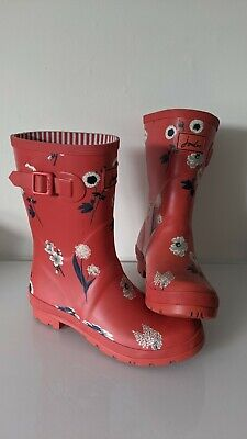 £23.99 • Buy Joules Red Floral Molly Wellies - UK Size 7 - Mid / Short Wellington Boots