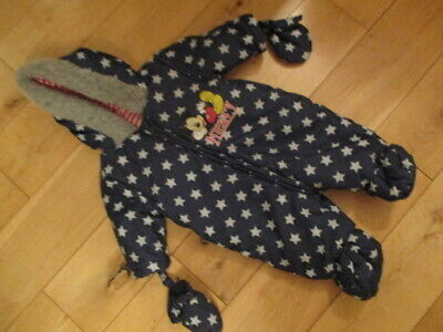 £5.95 • Buy Mickey Mouse Navy Stars Snowsuit Age  0 - 3 Months
