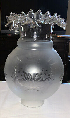 £10 • Buy Vintage/Antique Etched Glass Oil Lamp Globe / Shade FRILLED TOP 31/4in Fitter -