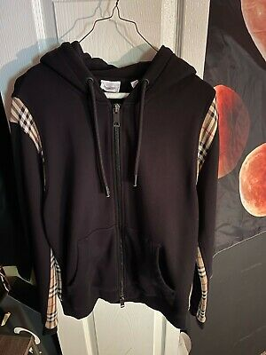 $200 • Buy Burberry Check Panel Cotton Hooded Top