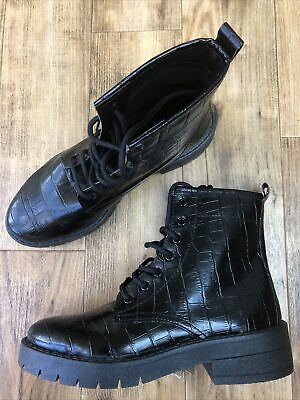 £9.99 • Buy Nwob Topshop Black Faux Leather Croc Print Boots Size 4 See Photos Perfect