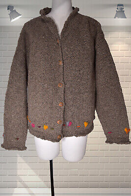 £24.99 • Buy Vintage 1990s Hand Knitted Rustic Cardigan By PACHAMAMA - Cottagecore - Large