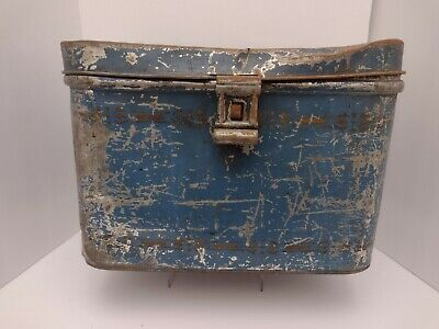 $19.95 • Buy Vintage NESCO Blue Tin Bread Box With Hinged Lid Rustic Farmhouse Decor Cottage