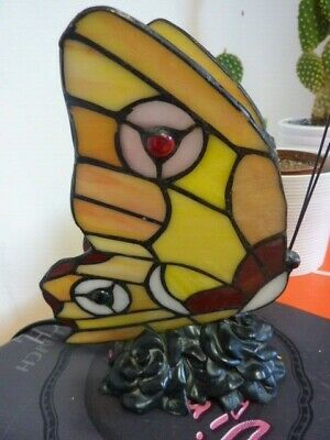 £30 • Buy Tiffany Style Glass Butterfly Lamp/nightlight With Floral Design Base - F14
