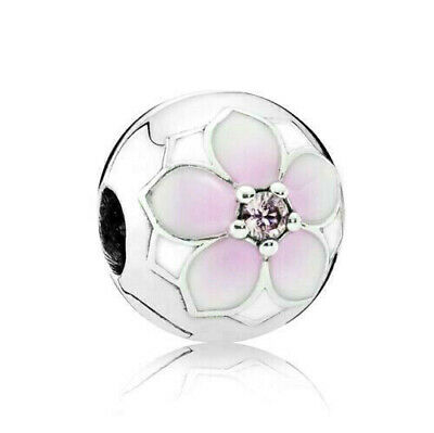 $2.46 • Buy Authentic Sterling Silver 925 Pandora Round Pink Magnolia Flower Charm 792078PCZ