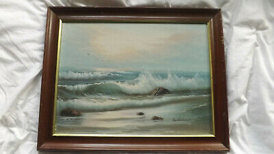 £45 • Buy Oil Painting Signed Schubert - Waves Sea Beach - Seascape