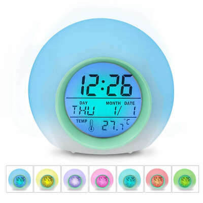 AU15.80 • Buy Kids Alarm Clock - Wake Up Light Digital Clock With 7 Colors Changing, Press Con