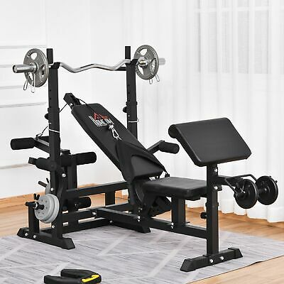 £119.99 • Buy Multi-Position Olympic Home Gym Weight & Bar Rack W/ Chest Fly & Preacher Curls