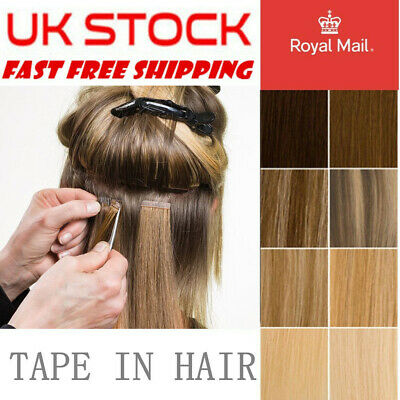 £22.99 • Buy 20PCS THICK Tape In Russian 100% Remy Human Hair Extensions Skin Weft Ombre