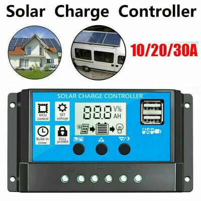£7.88 • Buy Solar Panel Battery Charge 30A 20A 10A Controller 12V/24V LCD Regulator Dual USB