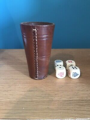£4 • Buy Vintage Leather Dice Cup Shaker With 4 Poker Dice