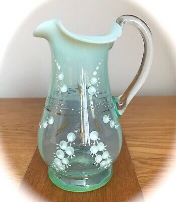 £15 • Buy Victorian Hand Blown Blue Glass Jug Decorated With Lily Of The Valley And Gold D
