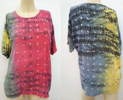 £2.99 • Buy Vintage Details Tie Dye Hippy Retro Loose  T-Shirt Style Top Onesize Large