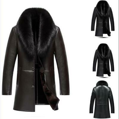 $278.65 • Buy Mens Fur Clothes Trench Coat Leather Jacket Single Breasted Fur Lined Overcoat L