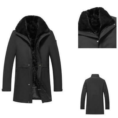 $599.99 • Buy Parka Mens Real Mink Fur Lined Coats Business Lapel Furry Thicken Warm Casual L
