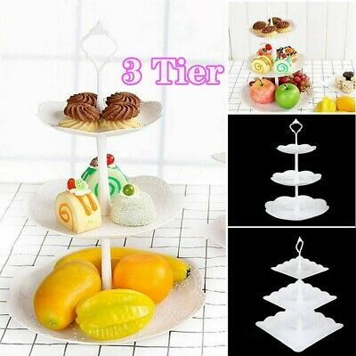 £6.25 • Buy 3 Tier PP Plastic Cake Stand Afternoon Tea Wedding Plates Party Tableware UK
