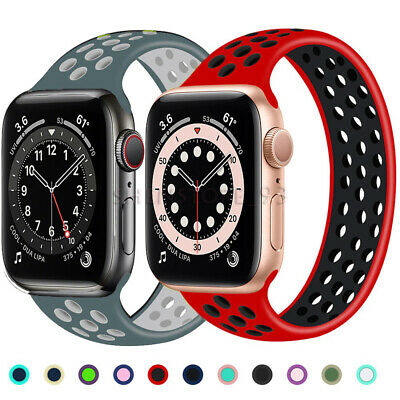 $ CDN6.26 • Buy Solo Loop For Apple Watch Series  2 3 4 5 6 SE Breathable Elastic Silicone Band