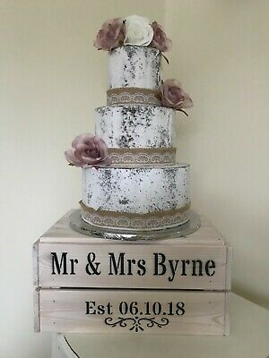 £26.99 • Buy Personalised Rustic Wooden Wedding Anniversary Cake Crate Stand Whitewashed