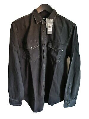 £50 • Buy DIESEL MEN WESTERN STYLE BLACK DENIM SHIRT SIZE XL 100% AUTHENTIC New With Tag