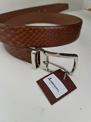 £40 • Buy Anderson's Patterned Calf Leather Belt 3.5CM Wide NWT Made In Italy 38UK / 95EU