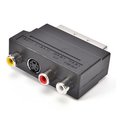 £2.49 • Buy SCART Adaptor AV Block To 3 RCA Phono Composite S-Video With In/Out Swit.ji