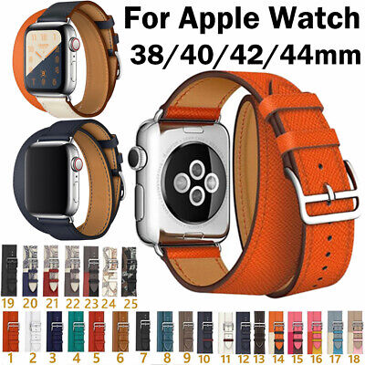 AU20.24 • Buy 38-44mm Genuine Leather Band Double Tour Bracelet For Apple Watch Series 6 5 4 3