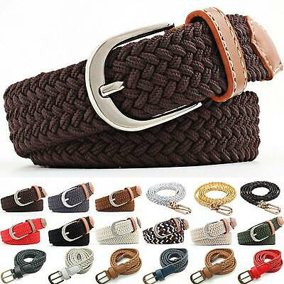 £2.99 • Buy Ladys Elastic Stretch Woven Braided Belt Pin Buckle Webbing Jeans Waistband Hot