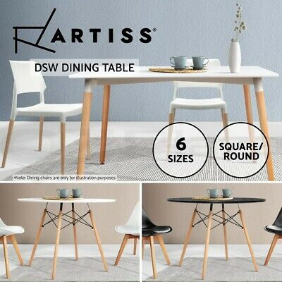 AU154.95 • Buy Artiss Dining Table Round Square Cafe CoffeeTable Wooden White 4 6 Seater