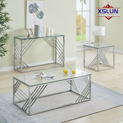 £79.99 • Buy Coffee Side Table Tempered Glass Top Silvery Stainless Steel Legs Living Room UK