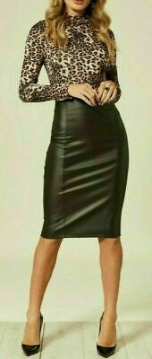 £11.99 • Buy Uk Women Ladies Black Faux Leather Pencil Skirt With Zip Up Back Party Wear
