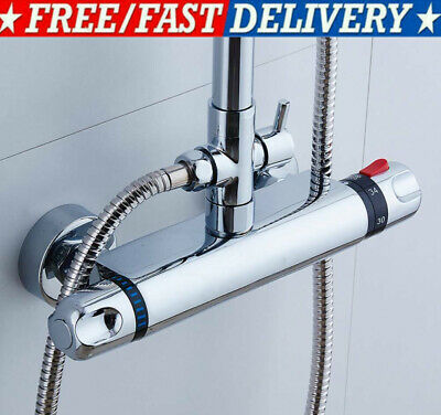 £25.99 • Buy Bathroom Thermostatic Shower Mixer Taps Bar Brass Valve Twin Outlet Chrome  UK