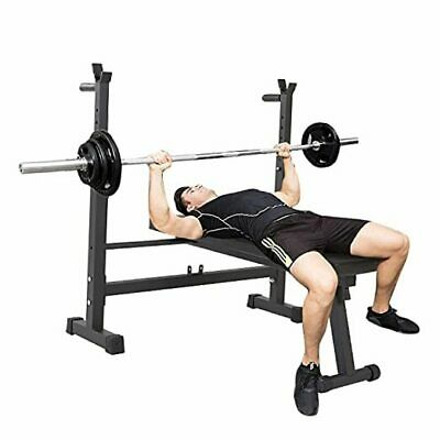 £107.02 • Buy 40-inch Wide Adjustable Foldable Barbell Rack Olympic Weight Bench For Black