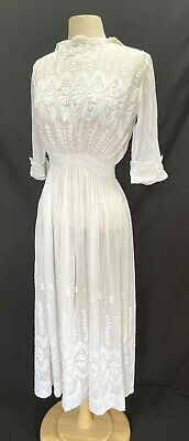 £90.63 • Buy Antique Vtg Edwardian Victorian Early 1900s Embroidered Cotton Lawn Tea Dress