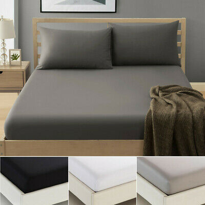AU17.99 • Buy 1000TC Soft Fitted Sheet Sets 3 Pieces Pillowcase K Single/Double/Queen/King Bed