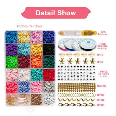 £7.79 • Buy 1Set Flat Polymer Clay Beads Spacer For DIY Bracelets Jewelry Making Finding UK