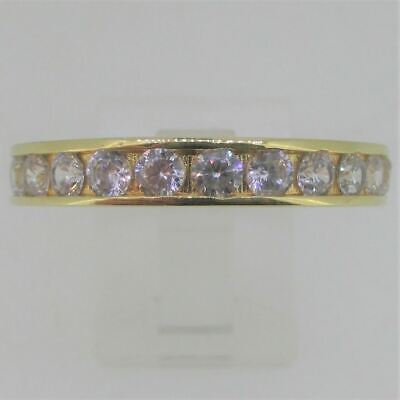 £42.85 • Buy Round CZ Eternity Ring Sterling Silver Gold Overlay Ring Size 12