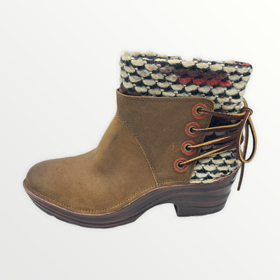 £43.97 • Buy Bionica Reign Women's Sz 6.5 Brown Leather Colorful Knit Boho Ankle Boot Booties